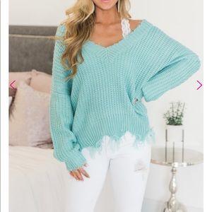 Sweaters - NWT Frayed Hem Sweater
